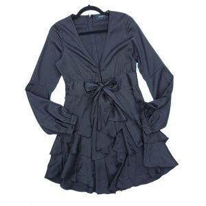 Storia Black Flowy Long Sleeve Tie Front Dress